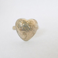 Vintage Sterling Silver Puffy Heart Ring Size 5.25