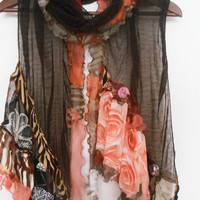 Brown scarf, Brown silk scarf, Patchwork scarf, Wearable art, Feminine scarves, Brown orange scarf, Spring fashion, Soil colors shawl