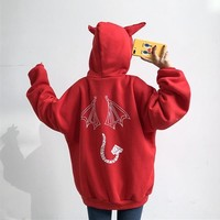 Fashion Sweatshirts Little Devil Printing Hoodie Solid Color Sweatshirt Harajuku Korean Version Of Simple Top