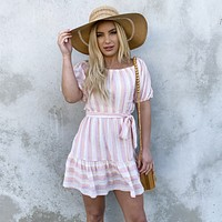 Summer Time Stripe Off Shoulder Dress