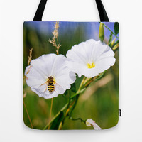 Wasp On A Flower Tote Bag by Pati Designs