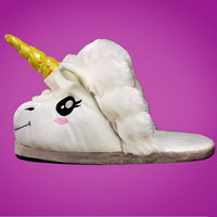 Plush Unicorn Slippers for Adults Indoor Slippers