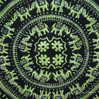 Green Indian Elephant Mandala Hippie & Tie Dye Dorm Decor Tapestry Wall Hanging