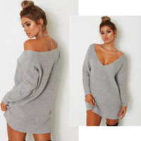 Women Simple Solid Color Deep V-Neck Middle Long Section Knitwear Loose Long Sleeve Knit Sweater Dress