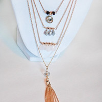 Layered Tassel Necklace - Gold