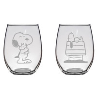 Snoopy Hugging Woodstock & Doghouse Snoopy Glass Set Peanuts Gift Charlie Brown