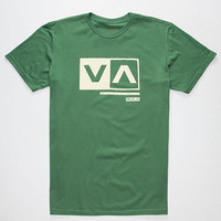 Rvca Cut Out Box Mens T-Shirt Green  In Sizes