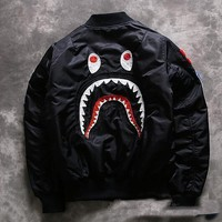 ca spbest Men's Bape Cotton Shark Jaws Cotton A Bathing Ape Coat Jacket Windbreaker