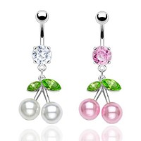 Pearl Cherries w/ Crystal Belly Jewelry