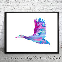 Duck Watercolor Print, Archival Fine Art Print, Children's Wall Art, Home Decor, animal watercolor, watercolor painting, bird art, Duck art