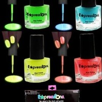 Glow In The Dark And Under Black Light Nail Polish 4-Piece Set AL#GG10912:Amazon:Beauty