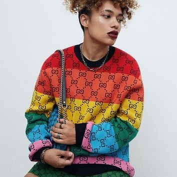 GG Double G Rainbow Color Block Loose Sweater Knit