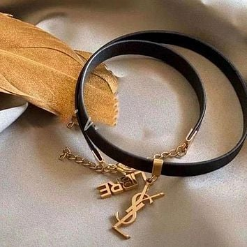 YSL Yves Saint Laurent dual-use all-match collar leather bracelet fashion collar simple jewelry neckband