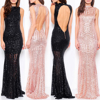 Sequin Bridesmaid Dress Long Evening Gown Prom Black Pageant Dress