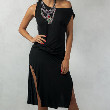 Hugging Dress with Gathered Knot Accent