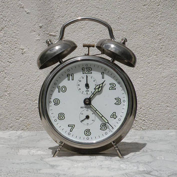 unique large Jaz alarm clock, desk clock, Jaz Repetition clock, unique large clock, table clock, French vintage clock, retro alarm clock