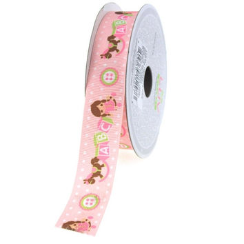 Baby Shower Grosgrain Ribbon, 7/8-inch, 10-yard, ABC Blocks Light Pink