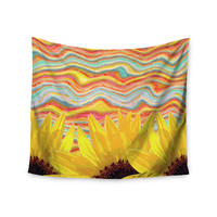 "Suzanne Carter ""Sunflower Dreaming "" Yelllow Teal Wall Tapestry"