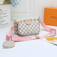 Louis Vuitton LV Hot Sale Classic Ladies Full Letter Three-piece Mahjong Bag Diagonal Bag White