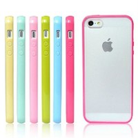 F-Dorla New 10pcs Candy Color Silicone Frame Bumper Anti Matte Clear Back Hard Case Cover Skin for Iphone 5 5s (Iphone 5/5s)