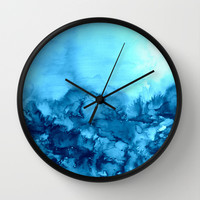 INTO ETERNITY, TURQUOISE Colorful Aqua Blue Watercolor Painting Abstract Art Floral Landscape Nature Wall Clock by EbiEmporium