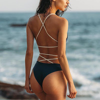 Summer New Arrival Swimsuit Hot Stretch Women's Fashion Hot Sale Sexy Backless Beach Swimwear Vacation Bikini [11592744335]