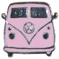 Vw Bus Ring In Pink with Silver Finish