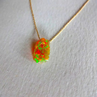 Large Rough Fire Opal Pendant and 925 Sterling Silver or 14k Gold Fill Chain Necklace