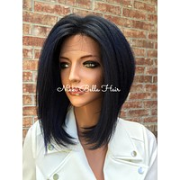 Blue Short Bob Swiss 4x4 Human Hair Blend Multi Parting Lace Front wig 10""