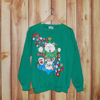 Vintage 1980's Green Christmas Cat Sweatshirt - Ugly Tacky Sweater - Size Large