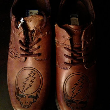 Customized men's grateful dead leather shoes MADE TO ORDER
