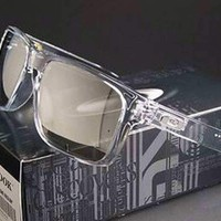 New Oakley Holbrook Sunglasses Clear/Chrome Iridium Authentic OO9102-06