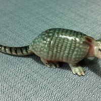 Miniature Ceramic Armadillo Funny Animal Cute Little Tiny Small Grey White Figurine Tail Statue Decoration Craft Hand Painted Collectible