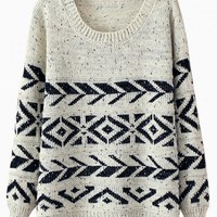 Beige & Navy Geometric Print Sweater