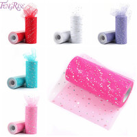 FENGRISE Sequin Tulle Roll 25 yards 15cm Tulle Knit Sewing Mesh Fabric DIY Tutu Skirt Organza Wedding Party Birthday Decoration