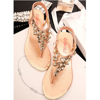 Heart Shape Rhinestone Flat Sandals