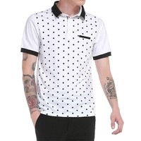 MK Fashion Men Summer Shirt 2017 New Casual Polka Dot Print Turn Down Collar Tops Tees Plus Size Shirts Male