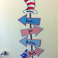 THE CAT in the HAT Birthday Party Door Sign - Dr. Seuss