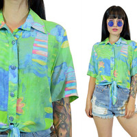 vintage 90s pastel tie front shirt 1990s crop top boho hippie new wave watercolor CUTE kawaii mint teal blue small
