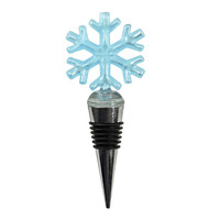 Glass Snowflake Bottle Stoppers - Blue