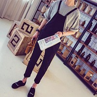 2017 New Arrival Casual Black One Piece Men Overalls Skinny Jumpsuit Bib Pants Suspender Braces Adult Jumpsuits Mens
