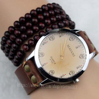 Leather watch - skull carved plate watches - unisex watches,Present a sandalwood bracelet