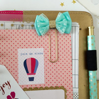 Mint & Gold Glitter Bow Planner Clip set, Satin Lace Glitter Planner Clips, Cute Bow Bookmark, Filofax, kikki.K, Fauxdori Accessory