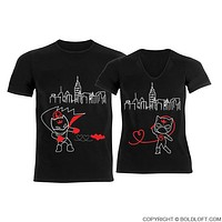 We're Irresistibly Attracted™ Black His and Hers Batman and Catwoman Couples Shirts, Couples Matching Shirts, Couples Gift, Batman Shirt, His and Hers Couple Shirts