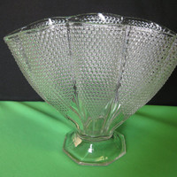 """Vintage L E Smith Glass Crystal Dewpoint Pillow 8 1/4"""" Fan, Envelope Vase Made in USA"""