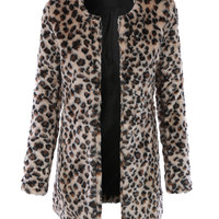 LE3NO Womens Oversized Leopard Faux Fur Long Coat with Pockets (CLEARANCE)