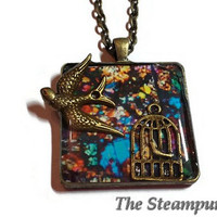 Stained Glass Song Bird Pendant Necklace