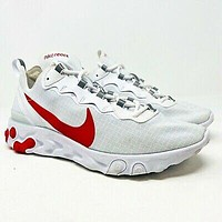 Nike React Element 55 SE SU19 White University Red Mens Size 9 BQ6167 102