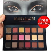 Beauty glazed Brand 18 Colors Eye shadow Palette Blush highlighter bronzer Eyeshadow Matte Glitter smoky Foiled Makeup Set