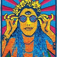 Novelty Iron on Patch - Zen / Om Psychedelic Hippy Chick on the Beach